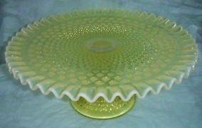 Fenton Rare Topaz Opalescent Hobnail Cake Plate