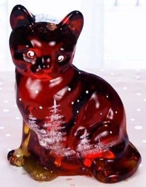 Fenton Ruby Red Winter Cat