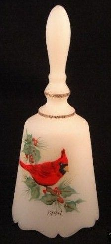 Fenton Satin Glass Christmas Cardinal Bell 1994 Signed