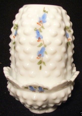 Fenton White Milk Glass Hobnail Fairy Lamp Blue Flowers