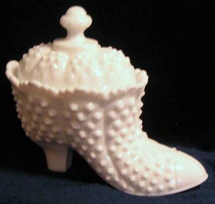 Fenton White Milk Glass Hobnail Shoe w Lid