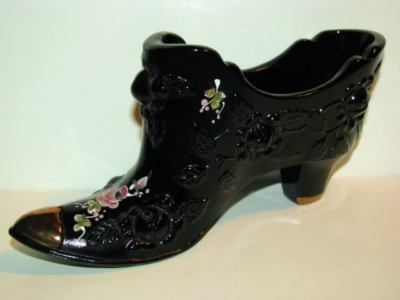 Fenton Hand Painted Flowers Black w Gold Trim Shoe