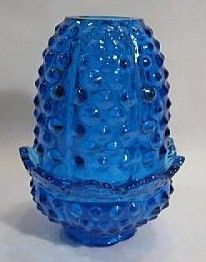 Fenton Fairy Lamp Blue obnail Glass Candle Holder 2 Piece