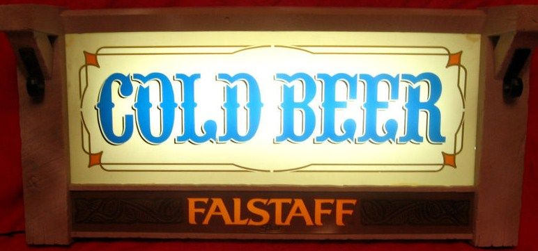 Falstaff Cold Beer Rustic Lighted Beer Sign from 1970s
