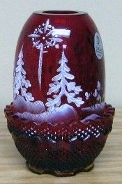 Fenton Fenton 2003 Hand Painted Star Bright on Ruby Fair Light