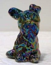 Fenton Black Carnival Glass Scottie Dog