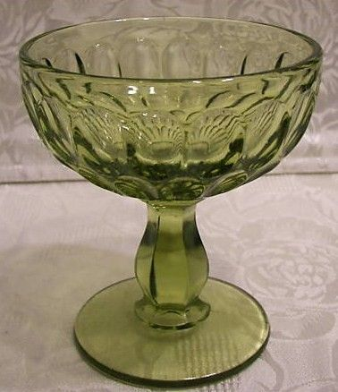 Fenton 60s Colonial Green Thumbprint Sherbert Glass