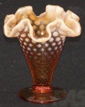 Fenton Amber Hobnail Opalescent Vase