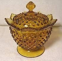 Fenton Amber Hobnail Footed Candy Dish with Lid