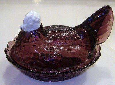 Fenton Amethyst & Milkglass Hen on Nest