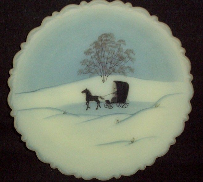 Fenton Amish Decorated Plate Winter Scene