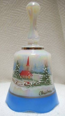 Fenton Art Glass Bell Pearlescent Christmas 1990