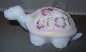 Fenton Art Glass Burmese Turtle Figurine