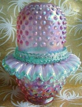 Fenton Art Glass Fairy Light Lamp Hobnail