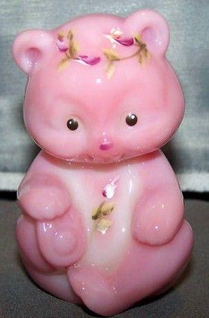 Fenton Art Glass HP Rosalene Bear Cub Figurine