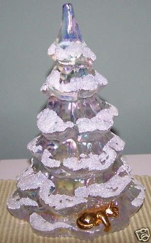 Fenton Art Glass Large Crystal Christmas Tree with Cat