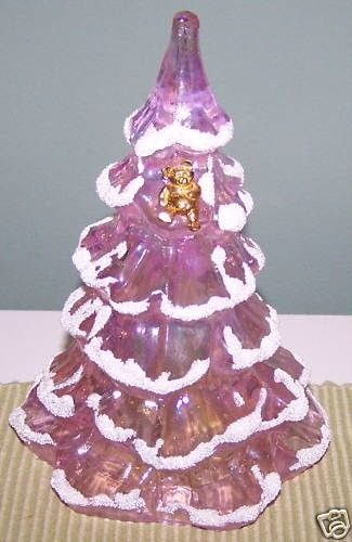 Fenton Art Glass Pink Christmas Tree with Teddy Bear