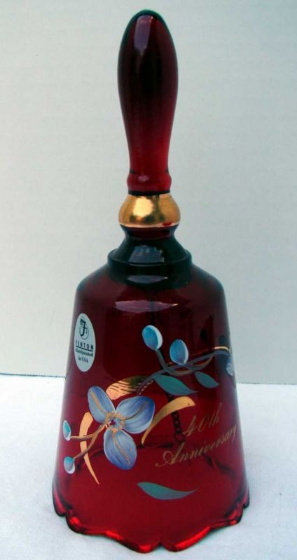 Fenton Artist Signed Ruby Red Bell 40th Anniversary