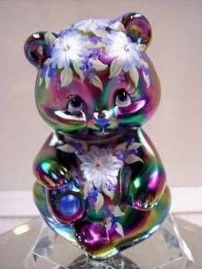 Fenton Bear Amethyst Carnival Swarovski Crystal OOAK