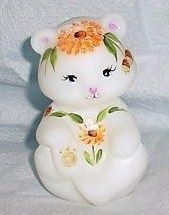 Fenton Bear Figurine Fall Floral Acorns