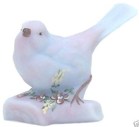 Fenton Blue Burmese Glass Bird on Log