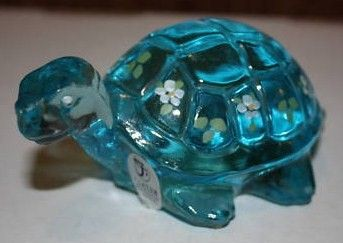 Fenton Blue Turtle Glassware Figurine Hand Painted