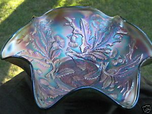 Fenton Carnival Art Glass Green Ruffled Bowl Thistle