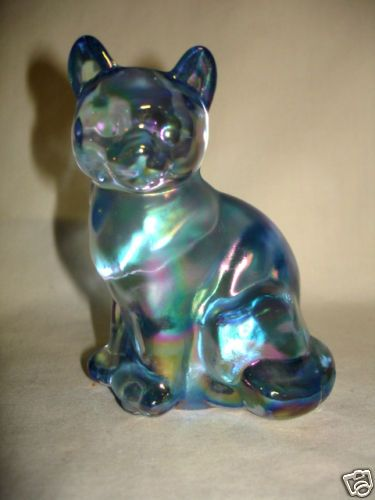 Fenton Cat Salem Blue Carnival 1990's