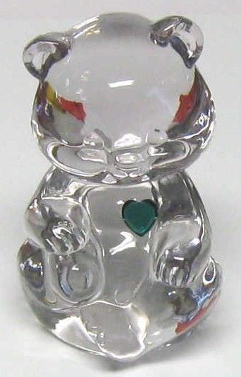 Fenton Clear Glass Bear with Green Heart