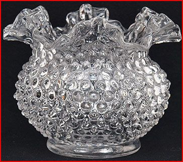 Fenton Clear Glass Ruffled Top Hobnail Bowl-Vase