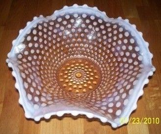 Fenton Clear Pink Opalescent Hobnail Bowl