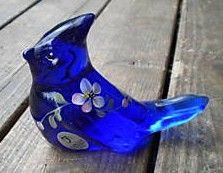 Fenton Cobalt Glass The Little Blue Jay Bird Figurine