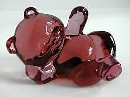 Fenton Colonial Pink Reclining Bear
