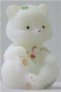 Art Glass Bear Figurine with Swarovski Crystals