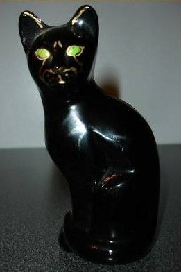 Fenton Ebony Black Sitting Art Glass Cat Figurine