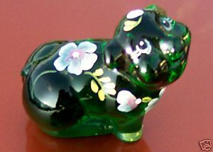 Fenton Emerald Glass Pig