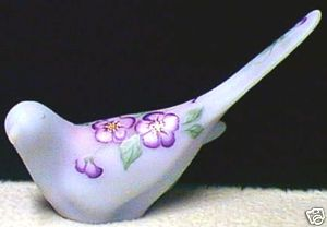 Fenton QVC 2000 Blue Burmese Happiness Bird Floral