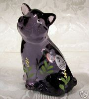 Fenton Glass 2006 Violet 4 inch Handpainted Floral Pig