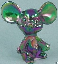Fenton Glass Hand Painted Green Carnival Mouse