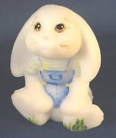Fenton Glass Hand Painted Rabbit Figurine Signed