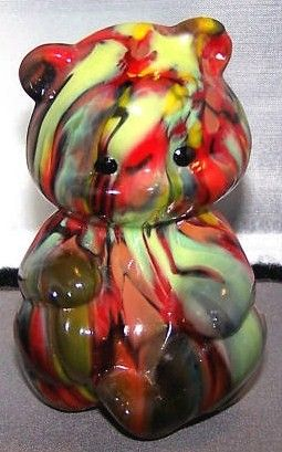 Fenton Glass Mosiac Dave Fetty Hollow Bear Figurine