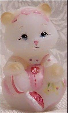 Fenton Glass Opal Satin HP Pink White Baby Bear