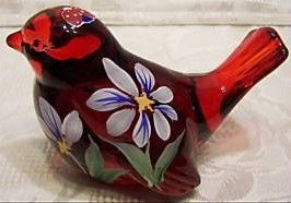 Fenton Glass Ruby Red Hand Painted Floral Bird
