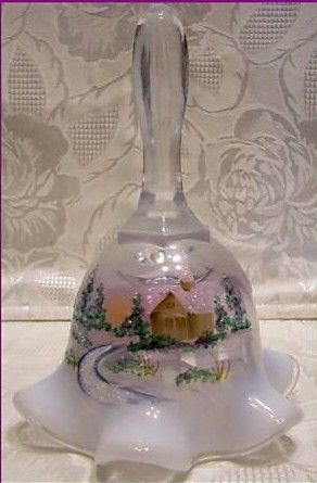 Fenton Glass Xmas 2009 French Opal Winter Aura Bell
