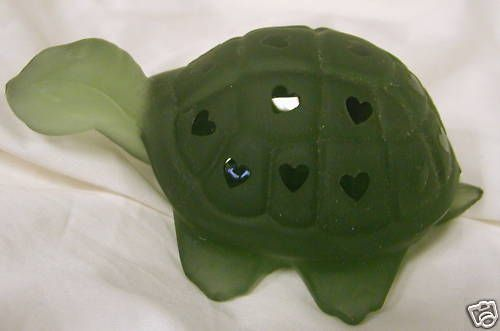 Fenton Green Mist Sand Carved Solid Glass Turtle