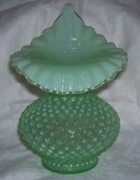 Fenton Green Opalescent Hobnail Jack in the Pulpit Vase