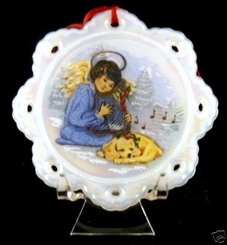 Fenton Hand Painted 1991 Angel Puppy Christmas Ornament