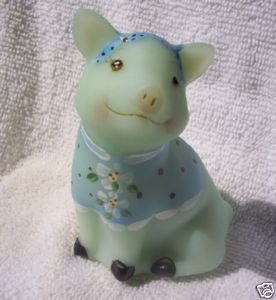 Fenton Hand Painted 4 inch tall Piglet Figurine