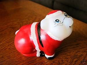 Fenton Hand Painted Christmas Santa Pig Glass Figurine
