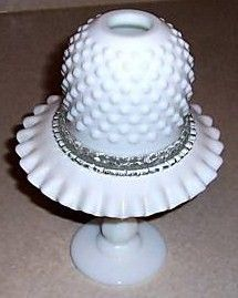 Fenton Hobnail Milk Glass 4 Piece Fairy Light Assembled